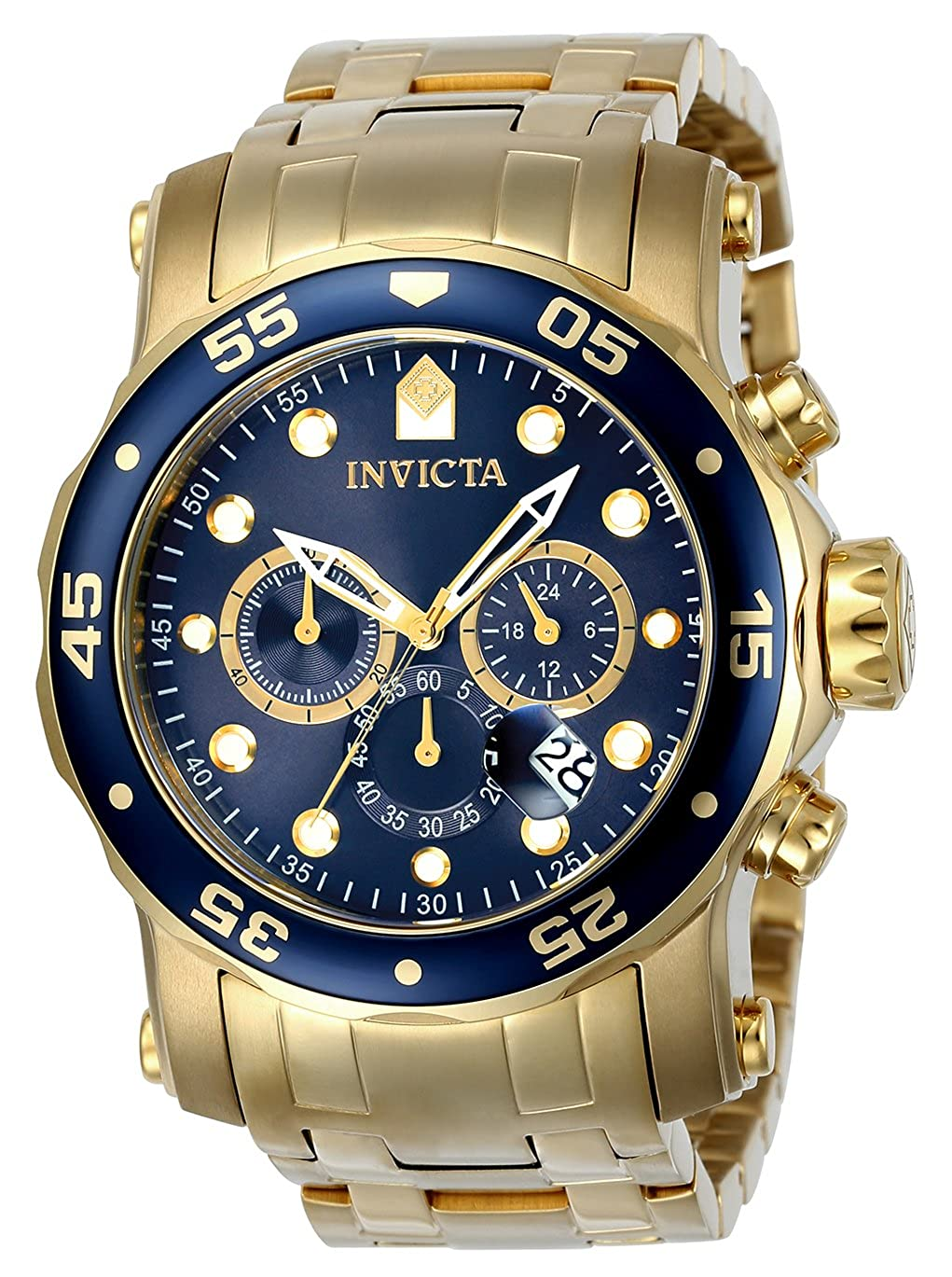 Invicta Men's Pro Diver Quartz Diving Watch with Stainless-Steel Strap, Gold, 26 (Model: 23651)