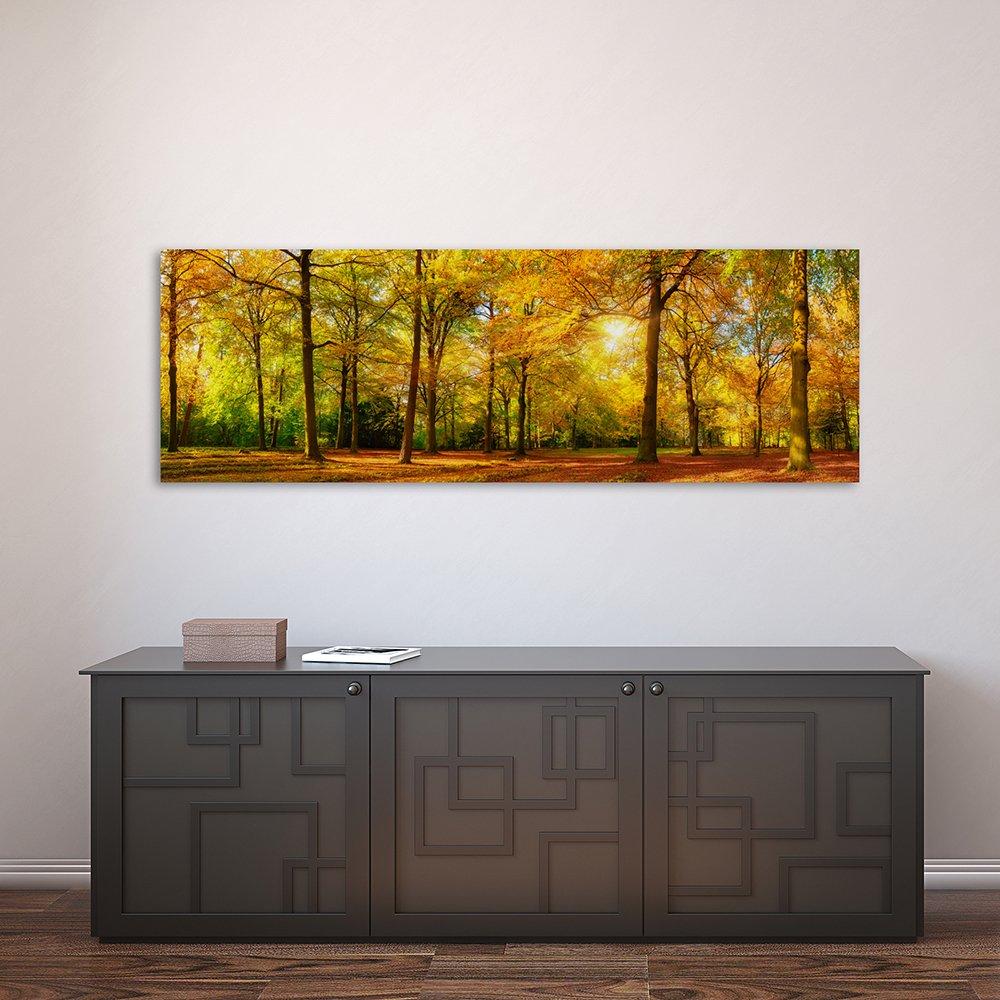 Pannello Singolo Verde Quadro su Tela Marrone Natura Bosco Canvas 25x70 cm Stampa Artistica Quadro Pannelli Sole Alberi Feeby Frames