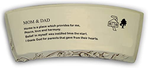 Southwest Graphix Hand Crafted 'Mom Dad' Cast Stone Garden Bench Personalization Available