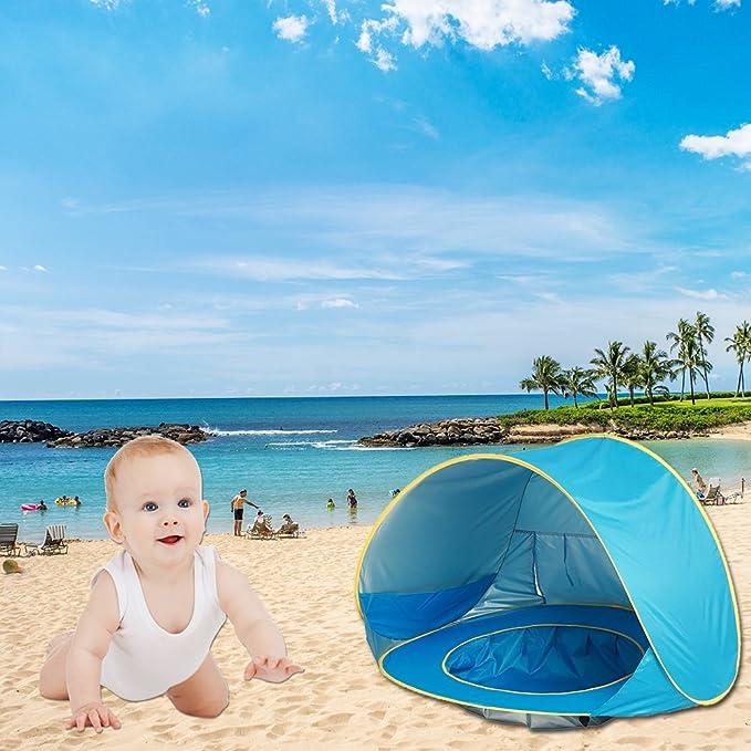 HUVE Tienda Campaña Playa para Bebé Infantil Niños Protección Solar Anti UV 50+ con Piscina, Tienda Portátil Desmontable para Vacación Playa Parque ...
