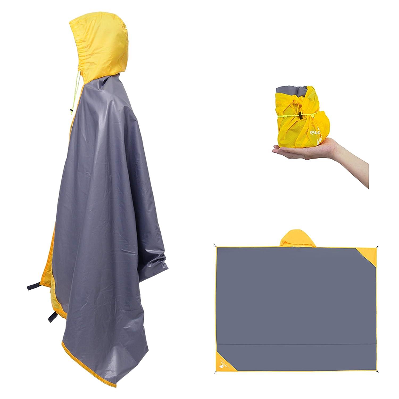 Geertop Imperméable Tapis de Sol Bâche de Tente Poncho Pluie Léger Multifonctionnel 2~4 Personnes pour Camping Randonnée Pique-Nique