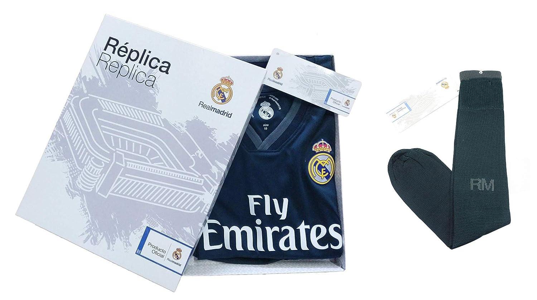 Personalizador Komplette Real Infantil Real Madrid Replik Offizielle Lizenzierte Zweite Saison Ausrüstung 2018-19 Rückseite sauber