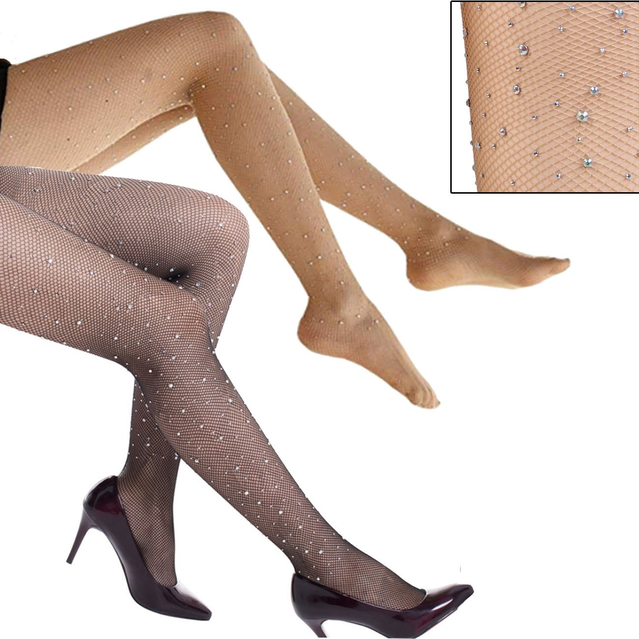 2-Pack Fishnet Rhinestone Sparkle Pantyhose Shiny Gem Mini Net Mesh Stockings