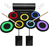 SUNKOO Electronic Drum Set for Kids, Adult Beginner Pro MIDI Drum Kit, Roll Up Practice Pad Kit with Headphone Jack, Built-in
