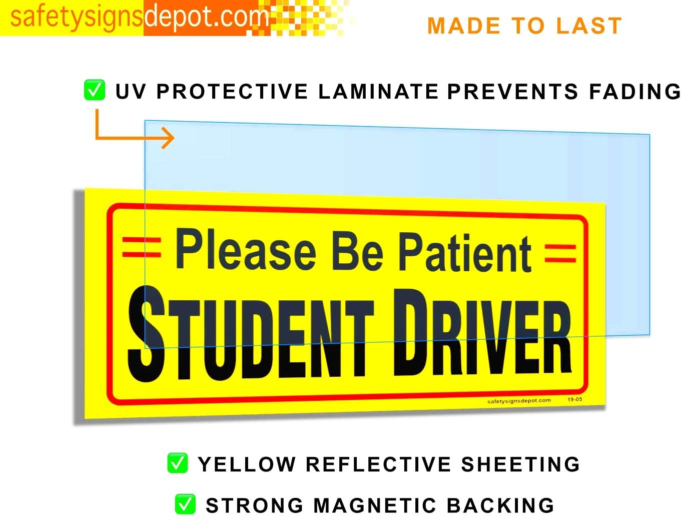 x 8 in.︱ Pack of 3 Reflective Car Bumper Safety Sign Student Driver Magnetic Signs for Vehicles 3 in