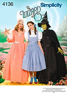 product image for Simplicity 4136 'Wizard of Oz' Dorothy, Wicked Witch and Glinda Good Witch Halloween Costume Sewing Pattern for Women, Sizes 14-22