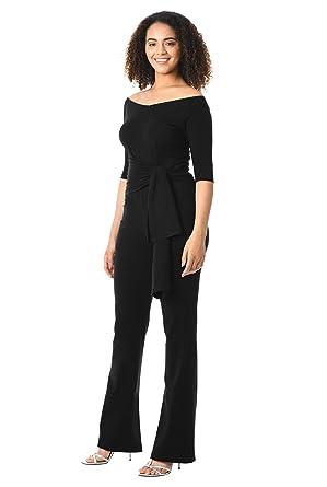 76813780c826 eShakti Women s Off-the-shoulder cotton knit jumpsuit UK Size 38W   Tall  height