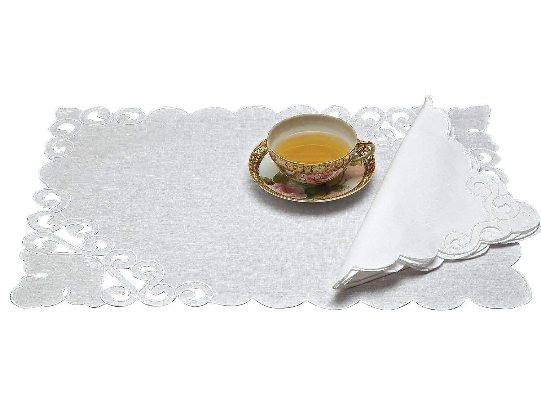 Romaテーブルリネンナプキン、ホワイト( 1ダース)   B076T9VT7M