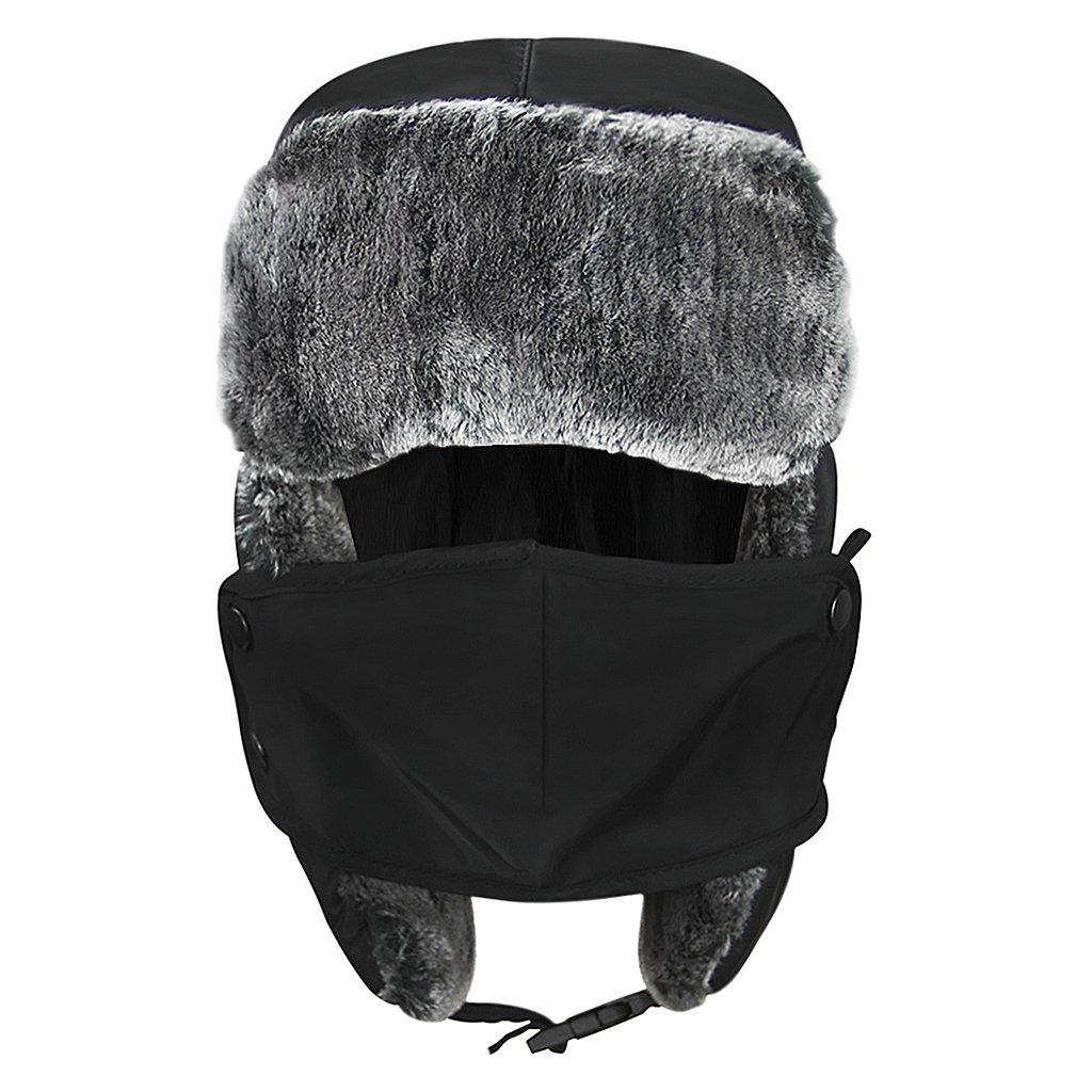 Unisex Kids Teens Girls Boys Faux Fur Winter Warm Trapper Hat with Ear Flaps,Windproof Face Mask Fleece Thermal Outdoor Snow Ski Russian Ushanka Cap Trapper Trooper Pilot Aviator Hat Headwear