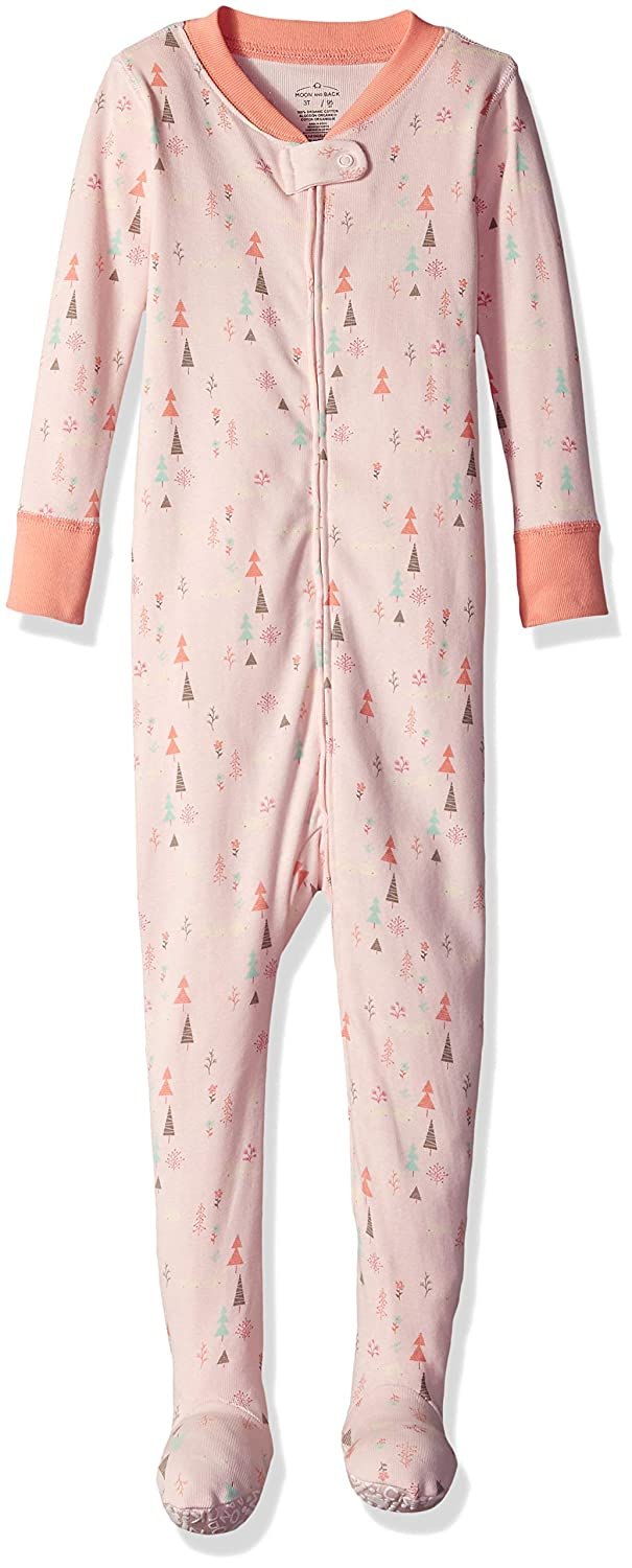 Moon and Back Girls Organic One-Piece Footed Pajamas