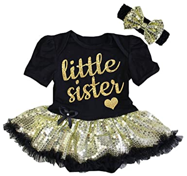 f4b7e5e522e76 G&G - Cute Glitter Little Sister Tutu Dress Outfits Black and Gold (0-3