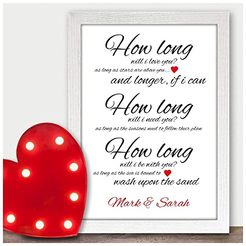 Personalised How Long Will I Love You Lyrics Print Wall Art Quote Birthday Gifts For Wife Girlfriend Her