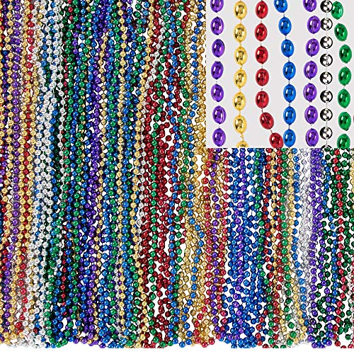 Amscan Mardi Gras Bead Necklaces, Carnival Party Supplies, 6 Assorted Colors, 30