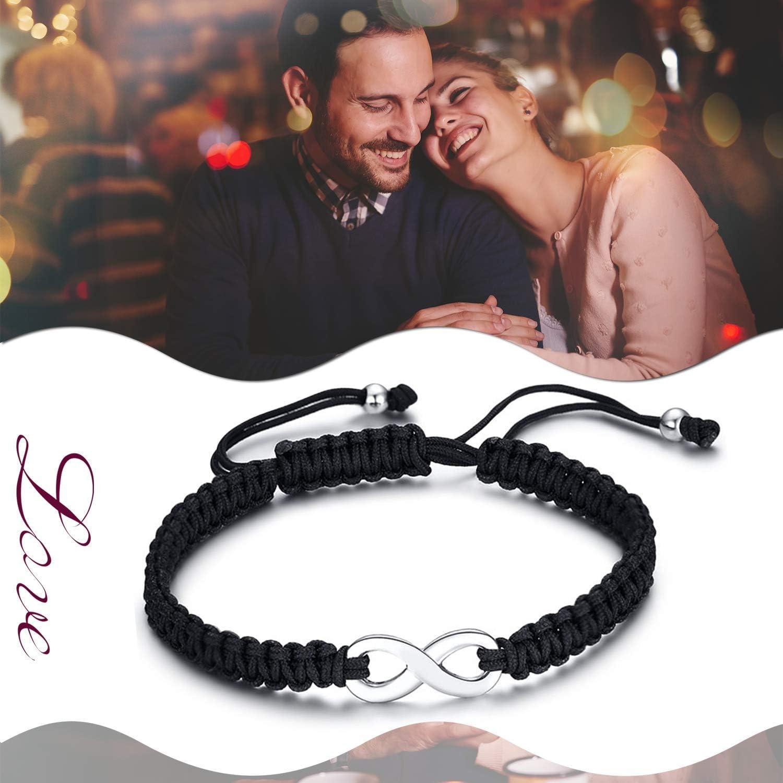 Noir Cupimatch Bracelet Amour Infini R/églable pour Homme et Femme,Tiss/é Bracelet de Symbole Infini en Acier Inoxydable Corde en Cuir,pour Bracelet Couple Amoureux,Amour Eternel,Saint Valentin,No/ël