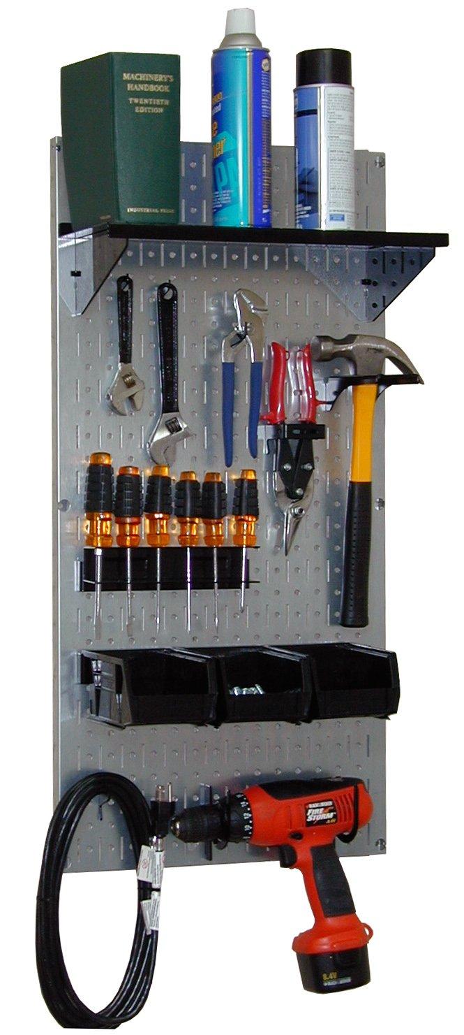 Wall Control 30-WGL-100 GVB Basic Utility Tool Storage Pegboard Organizer with Black Accessories