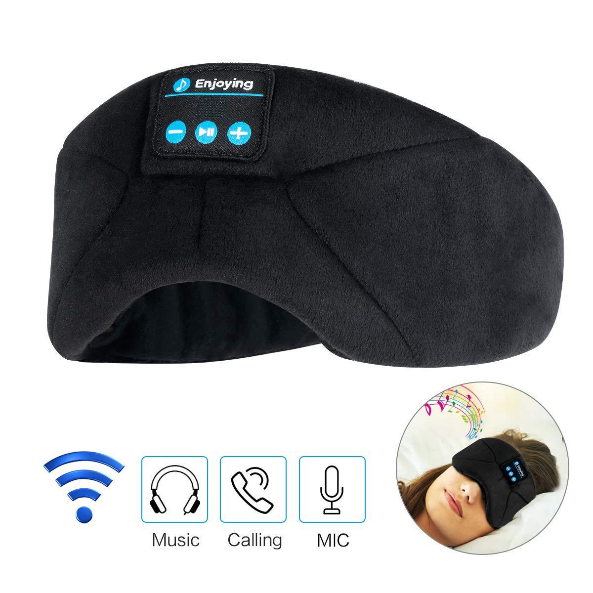 Schlafmaske mit integrierten Kopfhörern zum besseren Einschlafen