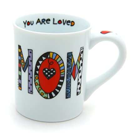 "e983ea37697 Amazon.com: Our Name is Mud ""Loved Mom"" Cuppa Doodle Porcelain Mug, 16 oz.:  Kitchen & Dining"