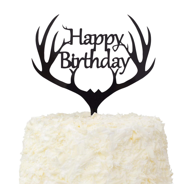 5.9-inch LOVENJOY with Gift Box Antler Happy Birthday Acrylic Cake Topper Black