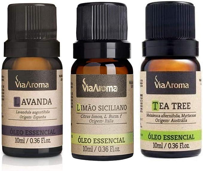 Kit 3 unidads - Óleo Essêncial para Aromaterapia - Lavanda, Limão e Melaleuca (tea tree).: Amazon.com.br: Saúde e Cuidados Pessoais