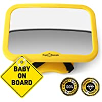 ROYAL RASCALS Baby Car Mirror for Back Seat – Safest Yellow Frame – Shatterproof Baby Mirror for Car - Rear View Baby Car Seat Mirror to See Rear Facing Infants and Babies