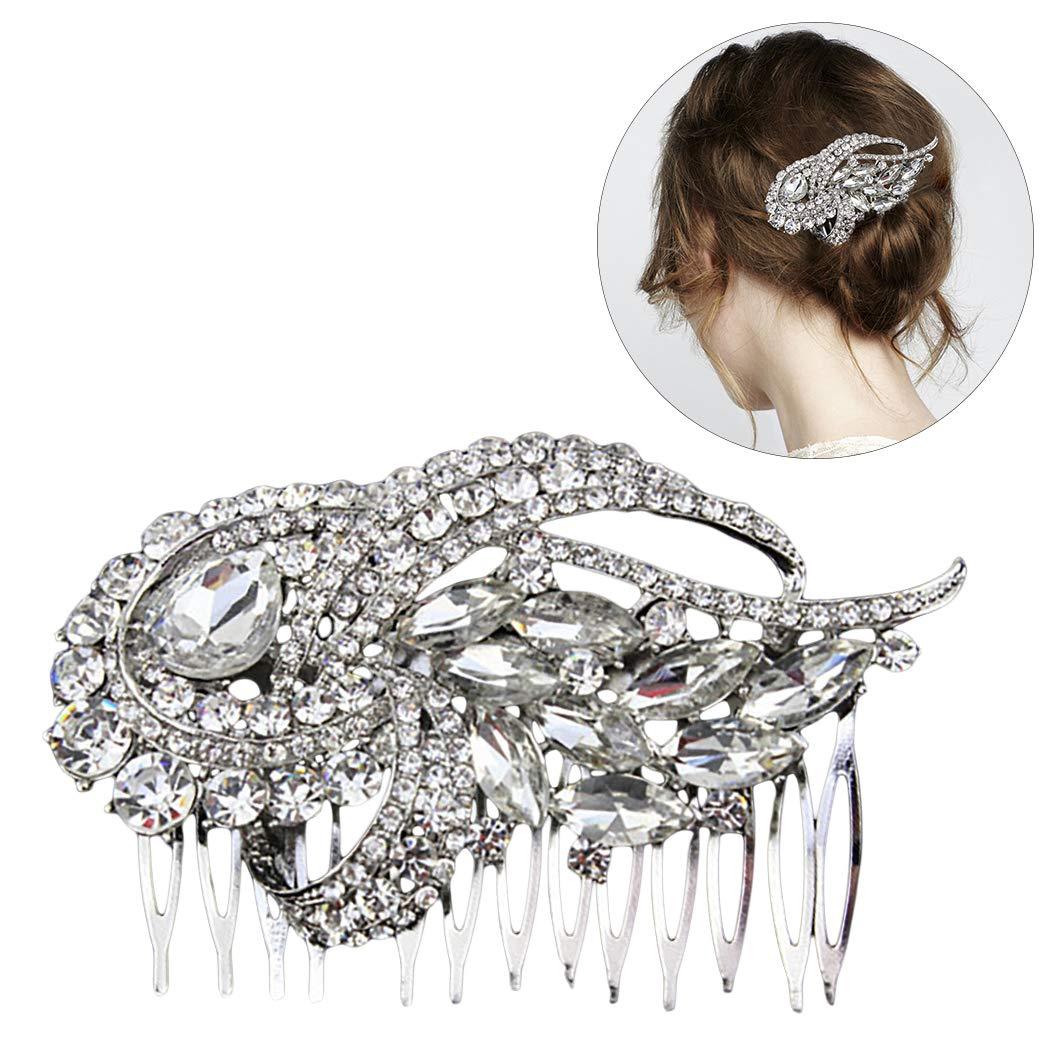 Zoylink Women Hair Comb Shiny Decor Wedding Comb Headpiece Bridal Hair Side Comb