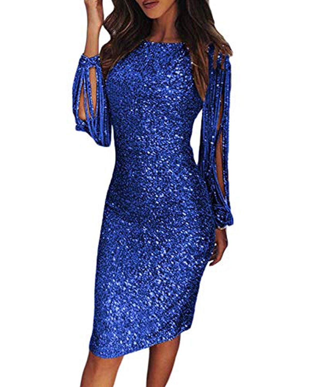 bluee BINGBIAN Women Silver Sequined Bodycon Dress Long Lantern Sleeved Party Club Dress Midi Cocktail Dress