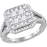 14kt White Gold Womens Round Diamond Square Cluster Bridal Wedding Engagement Ring 1-1/2 Cttw = 1.5 (I1 clarity; H-I color)