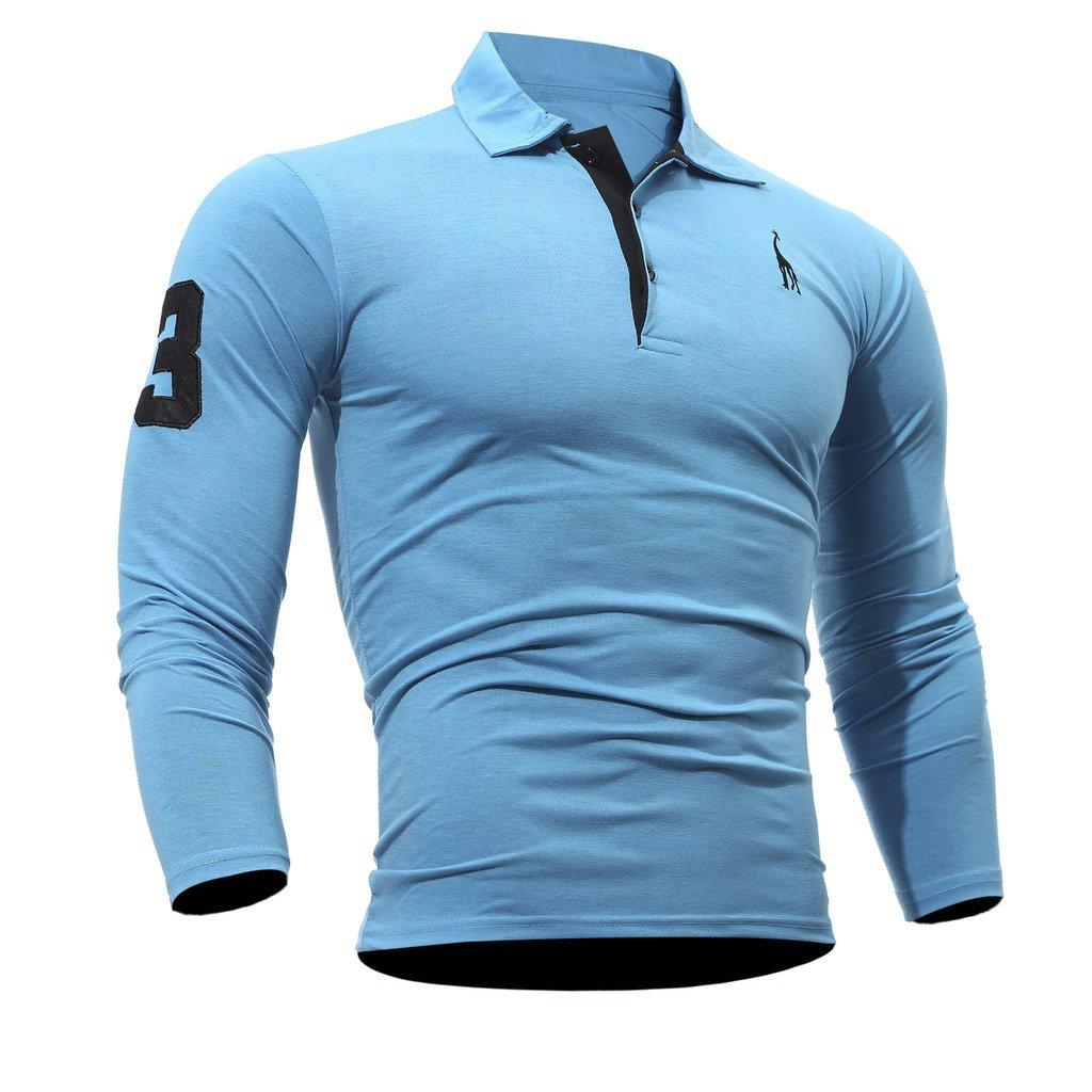 WSLCN Mens Casual Cotton Polo Shirt Long Sleeve Tops T-shirts Slim Fit TX0313