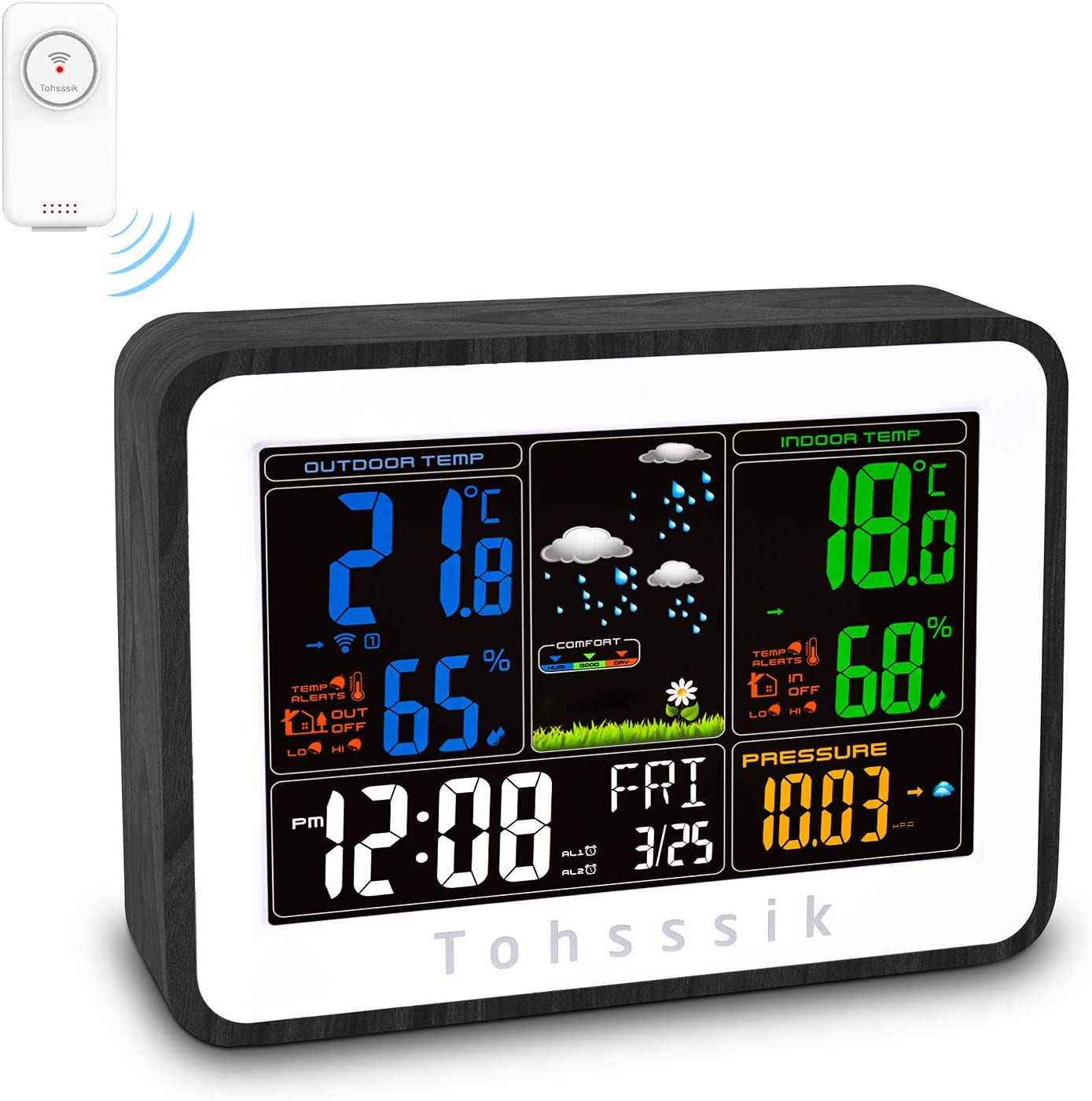 Moon Phrase Air Pressure 8-in-1 Weather Station with Weather Forecast Humidity sainlogic Wireless Weather Station with Outdoor Sensor Wind Gauge Rain Gauge Temperature NO WiFi