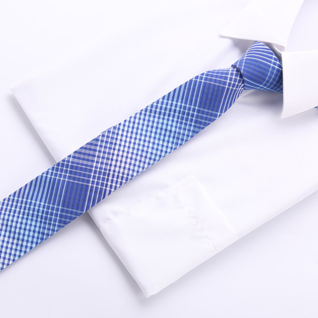 fashion plaid tie cotton fabric 6 cm Skinny necktie men