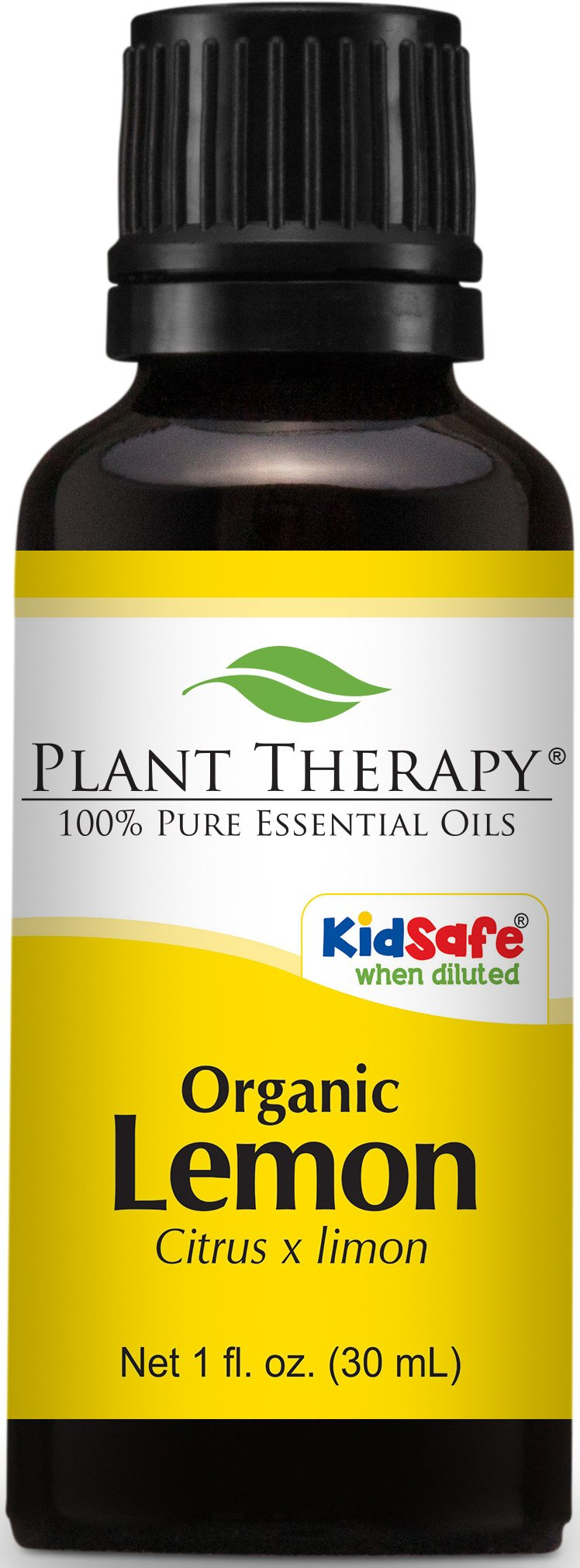 Plant Therapy USDA Certified Organic Lemon Essential Oil. 100% Pure, Undiluted, Therapeutic Grade. 30 mL (1 Ounce).