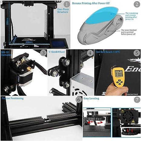 creality Ender 3 3d impresora Aluminio DIY con vida unidad ...