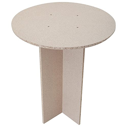 Flat Pack Self Assembly Round Chipboard Bedside Display