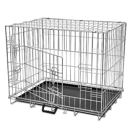 Vislone Jaula Plegable de Metal para Mascota Perros Transportin para Perro con 2 Puertas y Forro