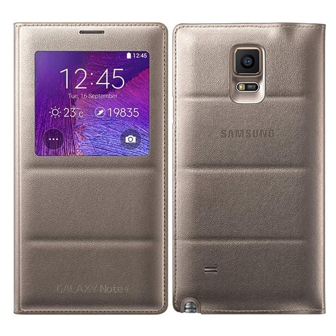 SHUNDA Slim Ventana Funda Carcasa Cuero Caso Tapa Case Cover para Samsung Galaxy Note 4 Dorado
