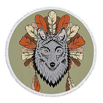 kikomia - Toalla de Playa con diseño de Mandala India, Forma Redonda, diseño de Lobo con Estampado de Animales: Amazon.es: Hogar