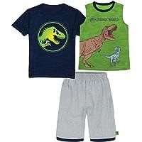 Jurassic World Universal Studio's Boys T-Rex Dinosaur Logo Short Sleeve T-Shirt, Tank Top and Mesh Shorts Set