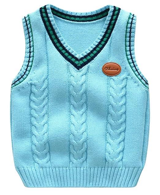 DEMU Kinder Strick Weste Schuluniform Pullover Jungen /Ärmellos Sweater Vest Strickpullover