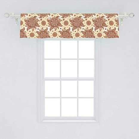 Amazon Com Ambesonne Brown Paisley Window Valance Continuous Tattoo Flowers Illustration In Autumn Tones Curtain Valance For Kitchen Bedroom Decor With Rod Pocket 54 X 12 Cream Paprika Home Kitchen