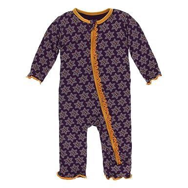 8bbb65fc25e Amazon.com  Kickee Pants Print Muffin Ruffle Coverall with Zipper Aloe  Sunflower  Clothing