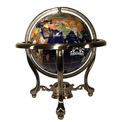 Unique Art 13-Inch Tall Table Top Blue Lapis Ocean Gemstone World Globe with Silver Tripod Stand: Home & Kitchen