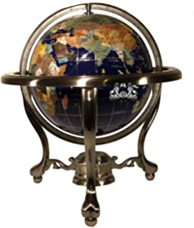 unique art 13inch tall table top blue lapis ocean gemstone world globe with silver