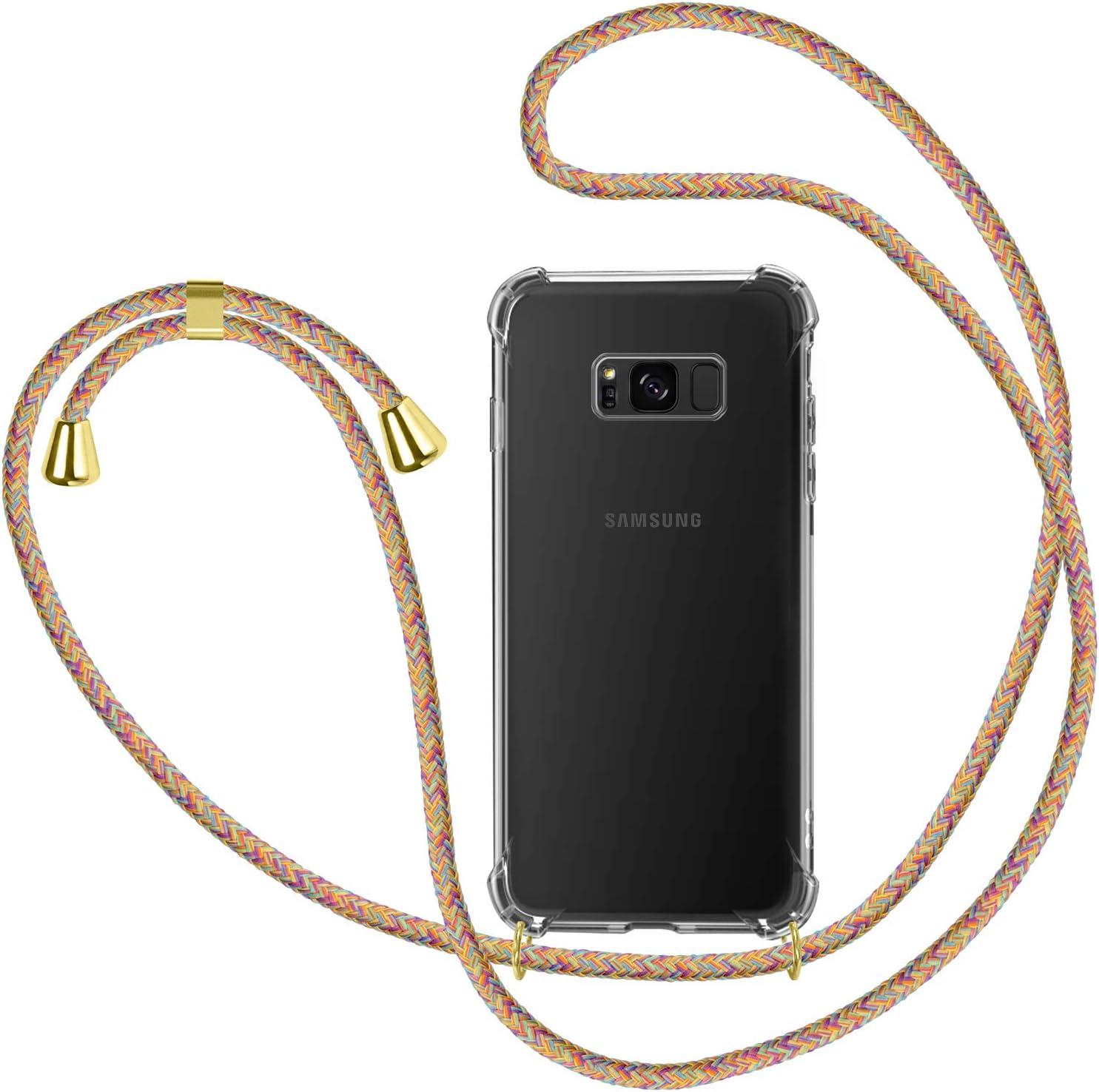 Bigcousin Funda con Cuerda Compatible con Samsung Galaxy S8,Transparente de TPU con Ajustable Collar Cadena Cord/ón,Azul Claro