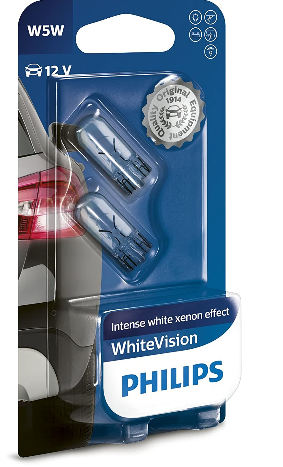 Philips WhiteVision Xenon Effect W5W Car Bulb 12961NBVB2, Double Blister - Light blue Philips GmbH BC Automotive