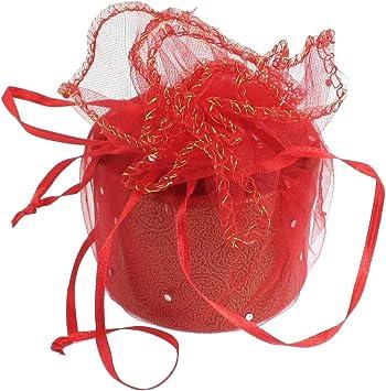 La gasa roja de la forma del cilindro de cartón envuelta regalo caja de la caja: Amazon.es: Salud y cuidado personal