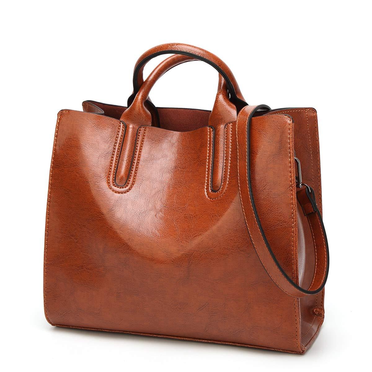 Women Top Handle Satchel Handbags Shoulder Bag Purse Messenger Tote Bag QIN LX (brown)