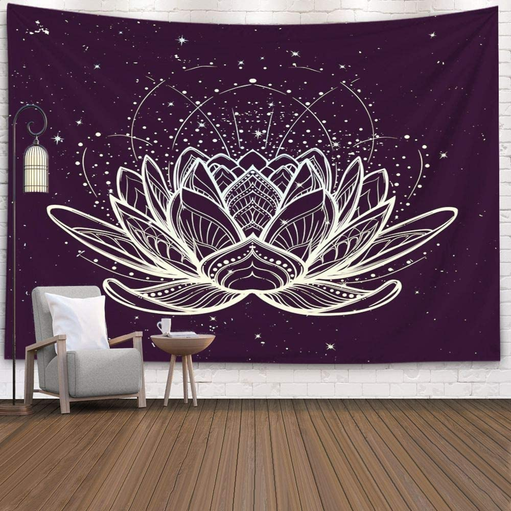 ROOLAYS Tapestry Wall Hanging, Home Art Décor Lotus Flower Intricate Stylized Linear Drawing Starry Nignt Sky with 60x60 Inches for Living Room Dorm Background Tapestries,Golden Black