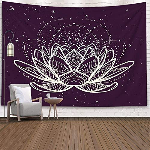 ROOLAYS Tapestry Wall Hanging, Home Art D cor Lotus Flower Intricate Stylized Linear Drawing Starry Nignt Sky with 80×60 Inches for Living Room Dorm Background Tapestries,Golden Black