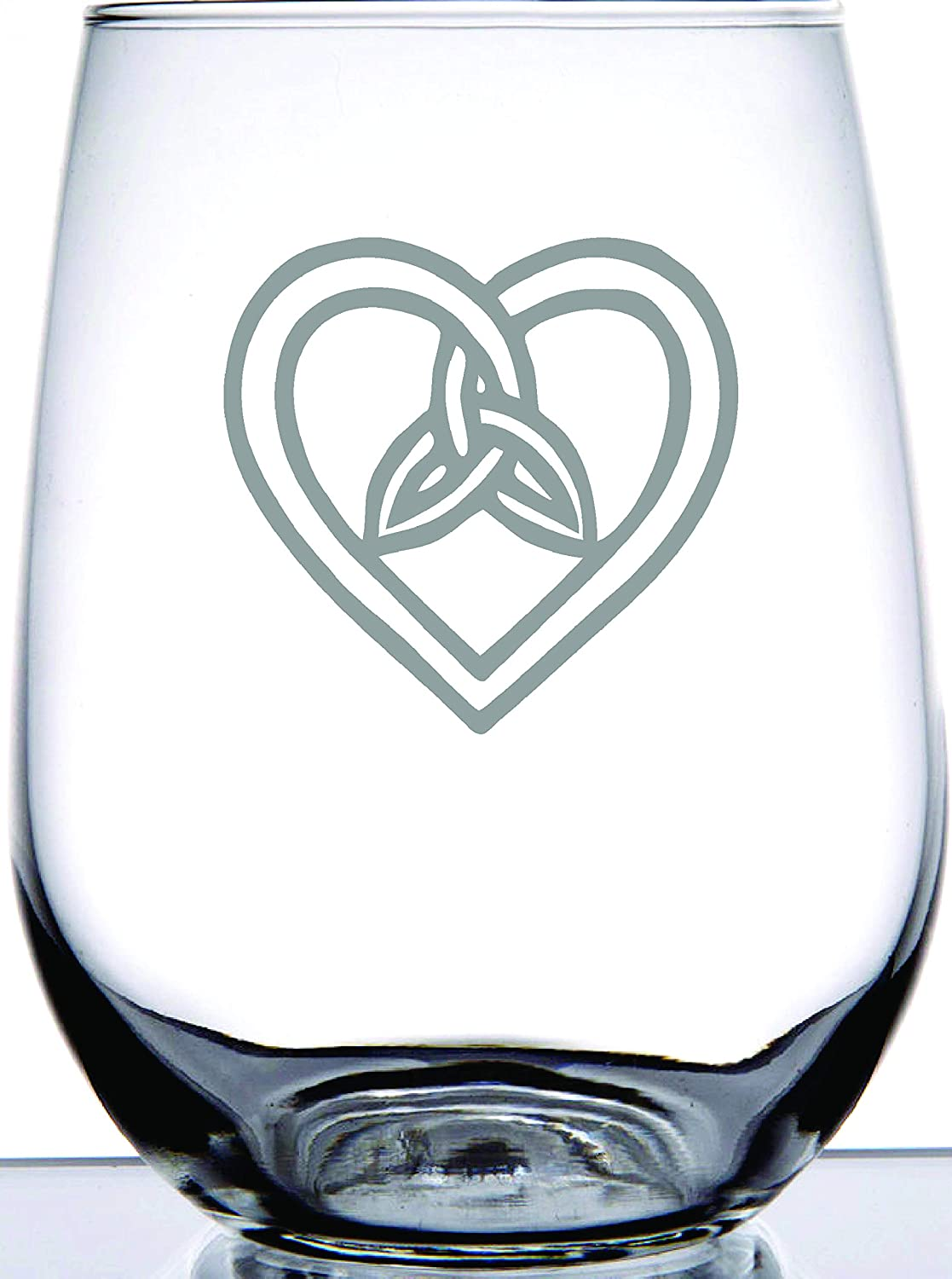 Amazon Com Ie Laserware Irish Celtic Heart And Trinity Knot Laser Etched Engraved Stemless Wine Glass Great Irish Gift Wine Glasses
