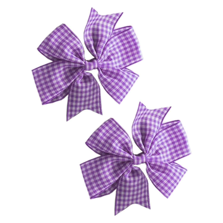 2 x 'Flat Fan' Bow Hair Clips | Hair Slides | School Hair | School Gingham Colours HC003